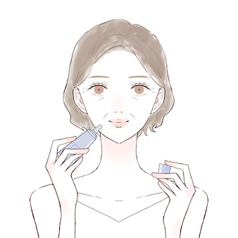 Middle-old woman applying lip balm. on a white background.