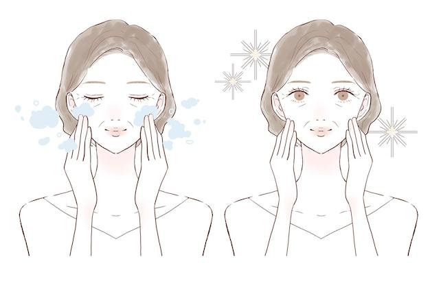 中年女性のクレンジングとクレンジング。前後。白い背景に。