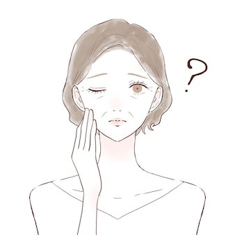 Middle-old woman having doubts. on a white background.