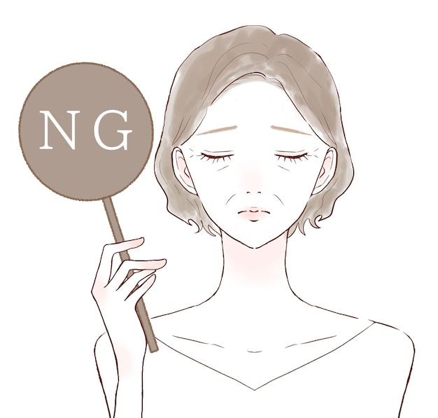 Middle-old woman ng sign. on a white background.