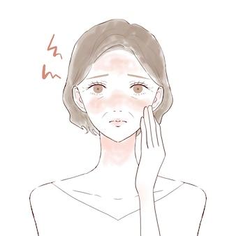 顔の炎症に苦しんでいる中年の女性。白い背景に。