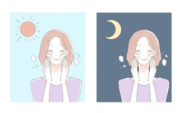 朝と夜に顔を洗う中年の女性。白い背景に。