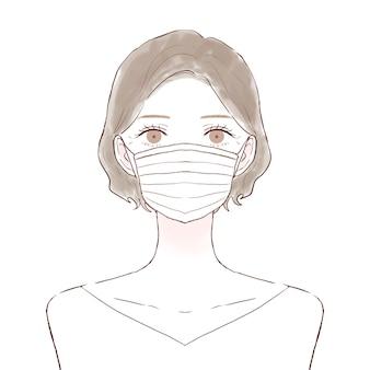 不織布マスクを身に着けている中年の女性。白い背景に。