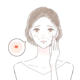 비키비를 걱정하는 중년 여성. 흰색 배경에.