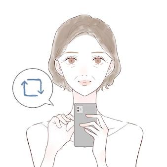 스마트폰으로 재회하는 중년 여성. 흰색 배경에.