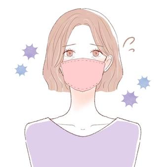 風邪、コロナ、インフルエンザのある中年の女性。白い背景に。