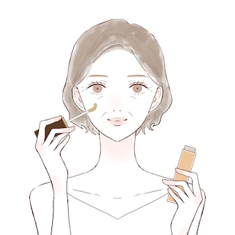 Middle-old woman with concealer. on a white background.