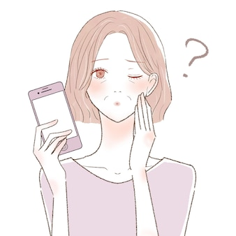 A middle-old woman with a smartphone who has doubts. on a white background.