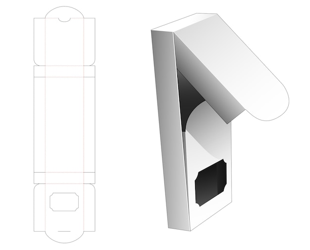 Middle opening box with window die cut template