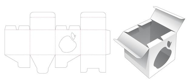 사과 모양의 창 다이 컷 템플릿이있는 중간 오프닝 포인트 포장 상자