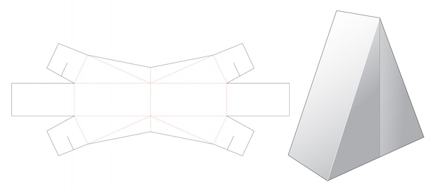Middle opening triangular box die cut template