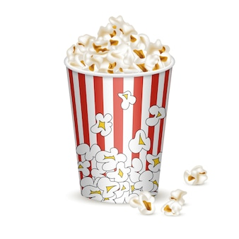 Middle striped bucket with popcorn.