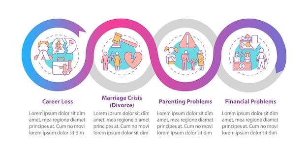 Шаблон инфографики вектора кризиса среднего возраста. представление проблем взросления обрисовывает в общих чертах элементы дизайна. визуализация данных в 4 шага. информационная диаграмма временной шкалы процесса. макет рабочего процесса с иконками линий