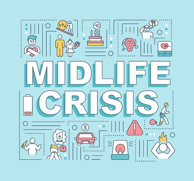 中年の危機の単語の概念のバナー