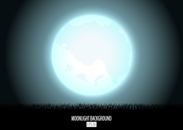Midnight fool moon abstract background with black grass silhouette. night moon over the horizon.