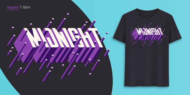 Midnight. graphic t-shirt design, typography, print with 3d styled text. vector illustration.