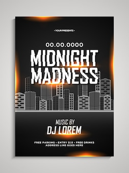 Midnight madness night dance party template, dance party flyer, night party banner or club invitation presentation with date and place details.