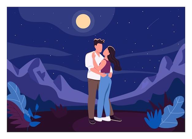 Полуночное романтическое свидание плоского цвета. мужчина и женщина на открытом воздухе. парень обнимает подругу снаружи. молодая пара 2d героев мультфильмов с ночным пейзажем на фоне