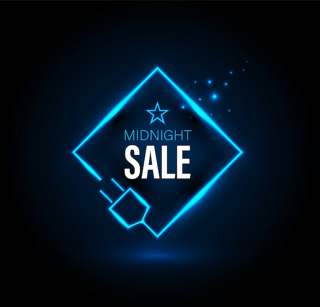 Midnight sale banner with plug.