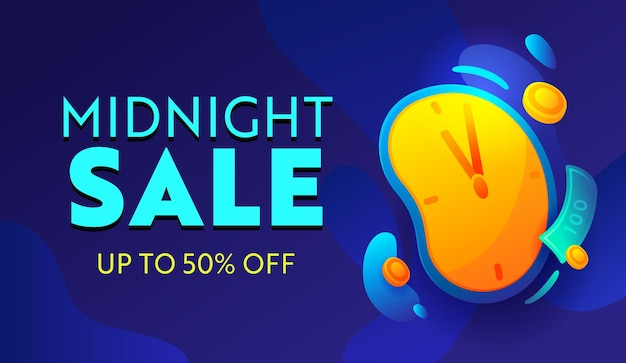 Midnight sale, special offer advertising banner with typography on blue background with alarm clock. design for shopping discount. social media promo ad, poster, flyer or card. vector illustration