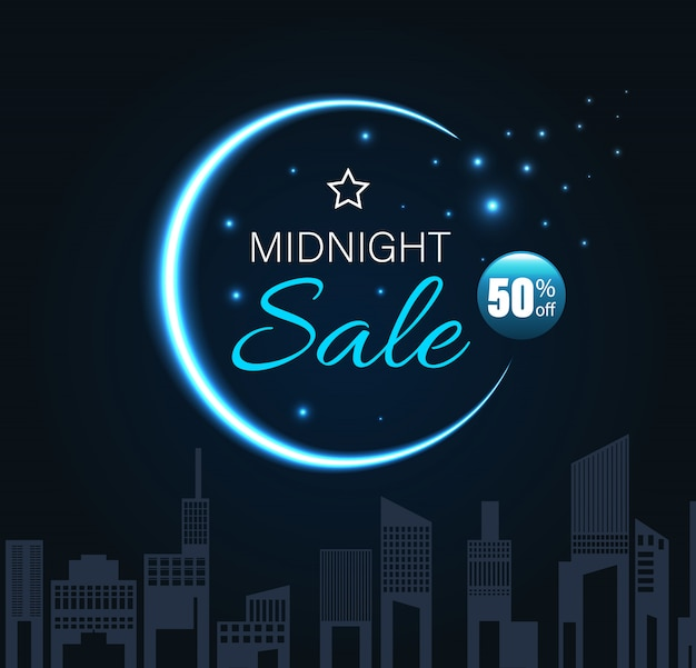 Midnight sale with crescent moon and city night style.