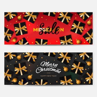 Midseason sale 배너 웹사이트 벡터 이미지에 대 한 크리스마스 배경 헤더 집합