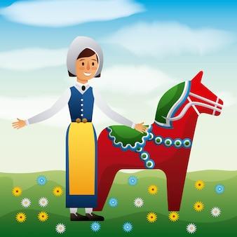 Летняя шведская женщина с полевой лесной полевой с цветами