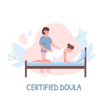 Midwife for childbirth flat color faceless character. certified doula phrase. childbearing woman. alternative childbirth isolated cartoon illustration for web graphic design and animation