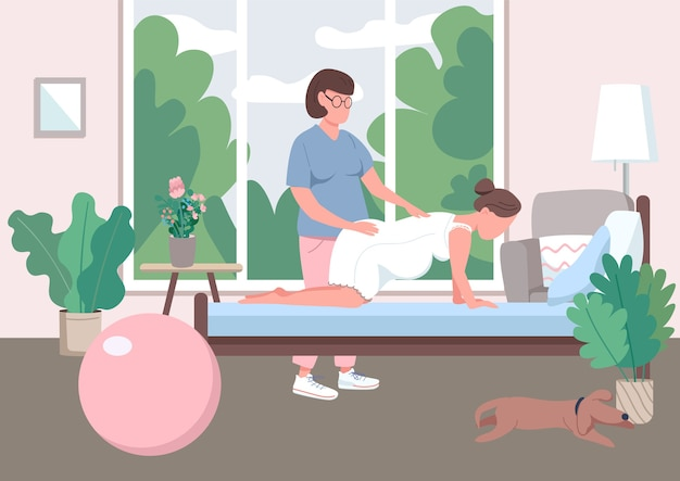 Midwifery flat color . professional doula guide. prenatal care for woman. alternative childbirth at home. pregnant 2d cartoon character with assistant on background