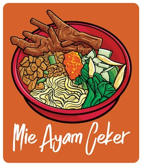Mie ayam ceker a traditional food from indonesia in cartoon style