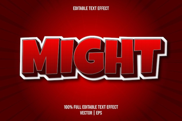 Might editable text effect comic style red color