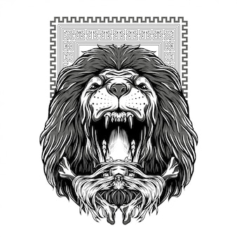 Mighty fall lion black and white illustration