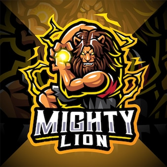 Mighty lion esport 마스코트 로고 디자인