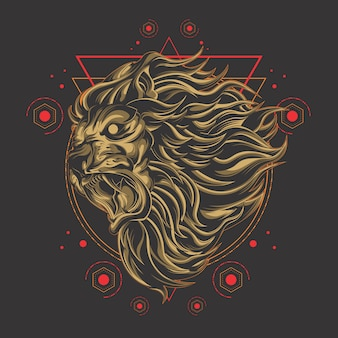 Mighty lion sacred geometry