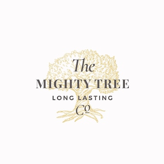 Mighty tree long lasting company abstract sign