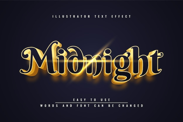 Mignight - editable 3d gold text effect design