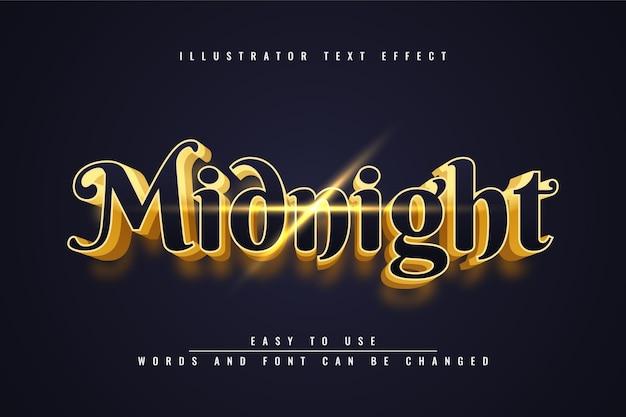 Mignight - редактируемый дизайн с трехмерным золотым текстом