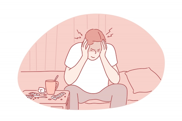 Migraine, headache, desease concept
