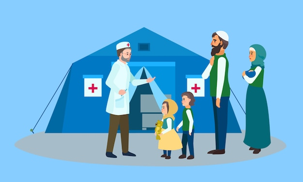 Migrant family doctor tent concept banner, flat style.