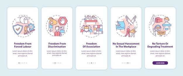 移民労働者の自由は、概念を備えたモバイルアプリのページ画面にオンボーディングします。移民の権利のチュートリアル5ステップのグラフィックの説明。