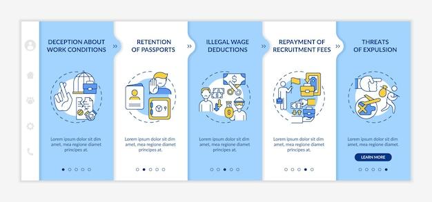 移民労働者の権利は、オンボーディングベクターテンプレートを乱用します。アイコン付きのレスポンシブモバイルサイト。 webページのウォークスルー5ステップ画面。線形イラストと嫌がらせの色の概念