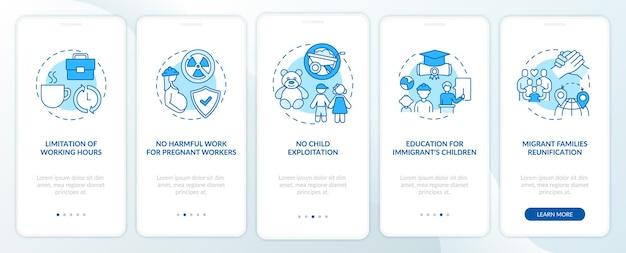 Права трудящихся-мигрантов синий экран страницы входа в мобильное приложение