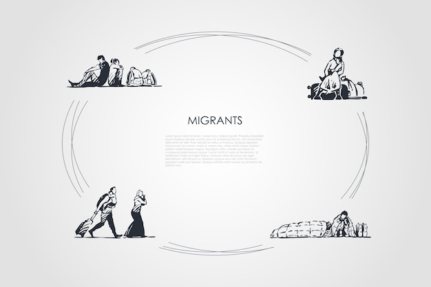 移民の手描きのシクル