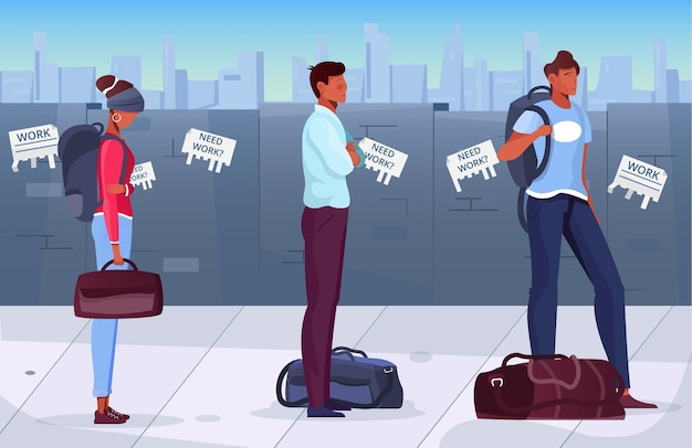 Migrants standing in queue in scene with wall and need work advertisements on it flat illustration