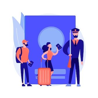 Illustrazione di vettore di concetto astratto di politica di migrazione. rapporto sulla migrazione, ricerca politica, modulo di domanda di visto, controllo delle pattuglie di frontiera, firma di documenti, segno di spunta, metafora astratta del passaporto