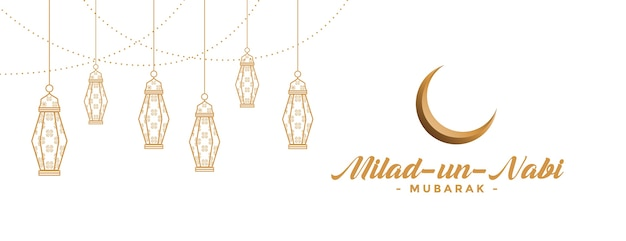 Striscione milad un nabi con lampade decorative