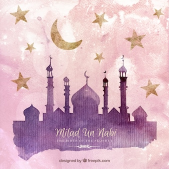 Milad un nabi vectors photos and psd files free download milad un nabi card in watercolor style m4hsunfo
