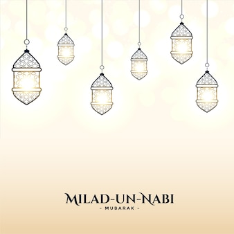 Milad un nabi card with lamps decoration design