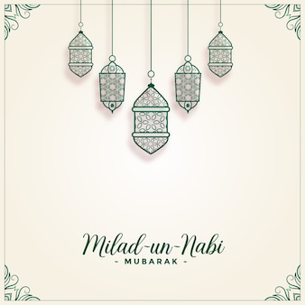 Milad un nabi decorative lamps festival background