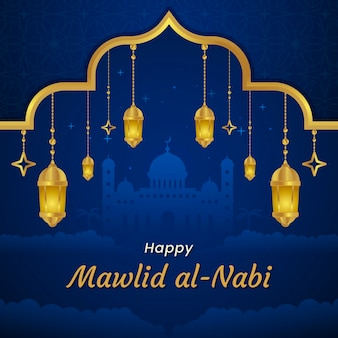 Milad-un-nabi greeting card lamps and mosque